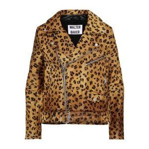 Leopard Calf Hair Moto Jacket